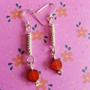 Sterling Silver Earrings Red Bead Drop